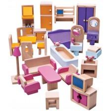Дървен комплект Bigjigs - Мебели за кукленска къща -1