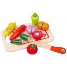 Игрален комплект Lelin - Дървени зеленчуци за рязане, с дъска II -1