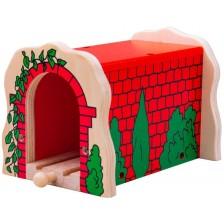 Дървена играчка Bigjigs - Червен тухлен тунел с релса -1