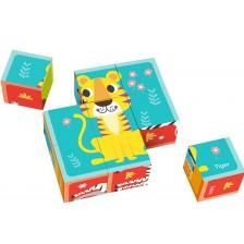 Дървени кубчета Tooky Toy - 9 броя -1