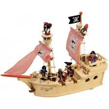 Дървена играчка Bigjigs -  Пиратският кораб Парагон, с екипаж -1