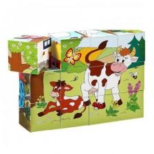 Дървени кубчета Woody Веселото влакче - Животни и сезони -1