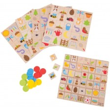 Дървена детска игра Bigjigs - Бинго градина -1