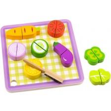 Дървена играчка Tooky Toy - Дъска за рязане, 18 части -1