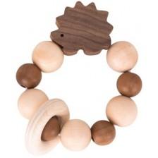 Дървена бебешка дрънкалка Heimess - Nature, таралеж -1