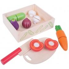 Дървен комплект Bigjigs - Зеленчуци за рязане -1