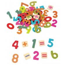 Игрален комплект Lelin - Дървени магнити, Цифри и знаци -1