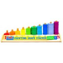 Дървена цветна низанка Melissa & Doug - С цифри и форми -1