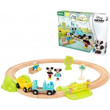 Дървен комплект Brio - Влакче и релси Mickey Mouse -1