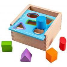 Bigjigs Дървена сортер с цветни геометрични фигурки -1