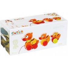 Дървена играчка за дърпане Cubika - Патета -1