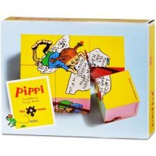 Дървени кубчета Pippi - Пипи Дългото чорапче, 6 броя -1