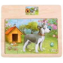 Дървен пъзел от 12 части Pino - Кученце -1