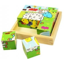 Дървени кубчета Bigjigs - Животните от фермата, 9 части -1