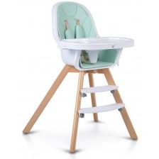 Дървено столче за хранене 2 в 1 Cangaroo - Hygge, мента -1