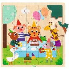 Дървен пъзел Djeco Happy - Животни на рожден ден -1