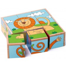 Дървени кубчета Woody - Диви животни -1