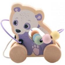 Дървена играчка за дърпане Jouéco - Панда -1