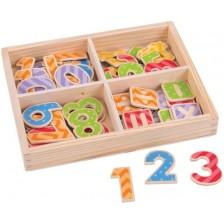 Дървен комплект Bigjigs - Магнитни цифри и символи, в кутия -1