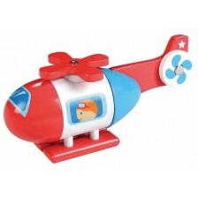 Дървена играчка Lelin - Хеликоптер, с магнити -1