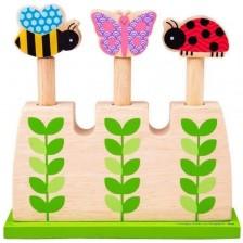 Дървена играчка Bigjigs - Изскачащи градински буболечки -1