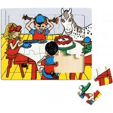Дървен пъзел в рамка Pippi - Пипи Дългото чорапче, 15 части -1