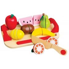 Игрален комплект Lelin - Дървени плодове за рязане, с дъска -1