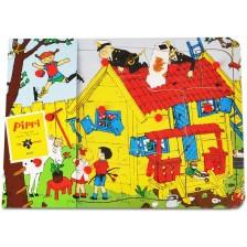 Дървен пъзел с дръжки Pippi - Пипи Дългото чорапче, 12 части -1
