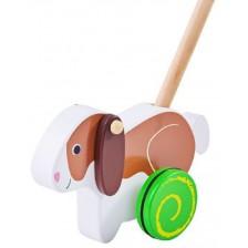 Дървена играчка за бутане Bigjigs - Зайче -1