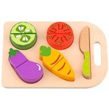 Дървена играчка Tooky Toy - Дъска за рязане, Vegetables -1