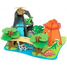 Дървен комплект Bigjigs - Светът на динозаврите,  7 елемента -1