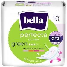 Дамски превръзки с крилца Bella - Perfecta ultra slim, Green, 10 броя -1
