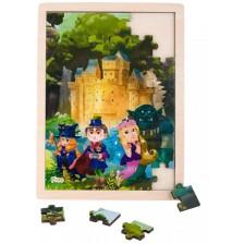 Дървен пъзел от 48 части Pino Приказки - Замък -1