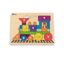 Дървен пъзел с дръжки Andreu toys - Влакче -1