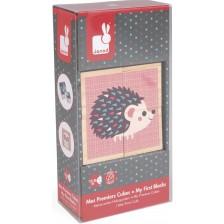 Дървени кубчета Janod - Бебета животни -1