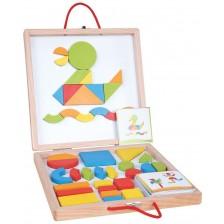 Образователен комплект Lelin - Дървени магнитни форми и цветове, в куфар -1