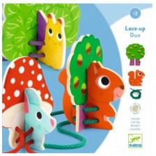 Дървена играчка за нанизване Djeco Lace-Up Dou - Животни -1