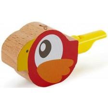 Дървена свирка Hape - Птиче, червена -1