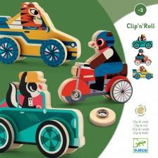 Дървена играчка Djeco Clipacar - Животни с автомобили