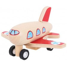 Дървена играчка Bigjigs Pull Back Planes - Самолет -1