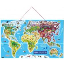 Дървен пъзел с магнитни части Woody - Карта на света, 2 в 1 -1