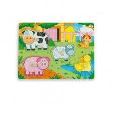 Дървен пъзел Andreu toys - Ферма, с подсказка -1