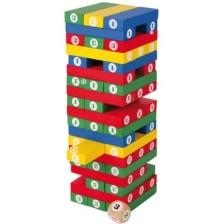 Дървена игра Small Foot - Дженга, с числа и зарче -1