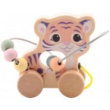 Дървена играчка за дърпане Jouéco - Тигърче -1