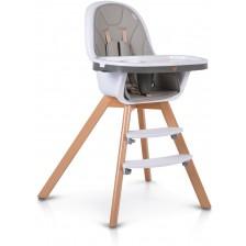 Дървено столче за хранене 2 в 1 Cangaroo - Hygge, сиво -1