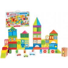 Дървен детски конструктор RS Toys - Кубчета и фигури, 72 части -1