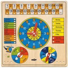 Дървен календар с часовник Woody - Животни, на английски език -1