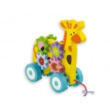 Дървена играчка за дърпане Andreu toys - Жираф -1