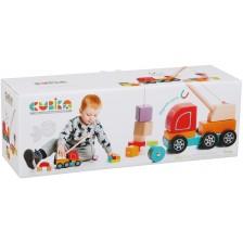 Дървена играчка Cubika - Камион с кран -1