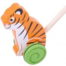 Дървена играчка за бутане Bigjigs - Тигър -1